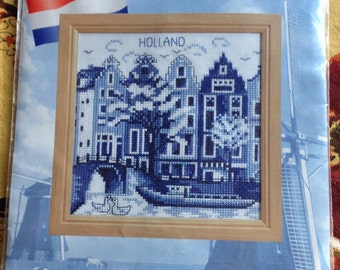 OOP New 2000's  Lanarte Souvenir of Holland Canal Houses Counted Cross Stitch Kit  14 cm x 14 cm (5 inches by 5 inches)
