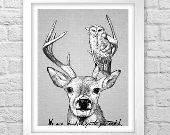 We Are Kindred Spirits, You and I deer and owl illustration