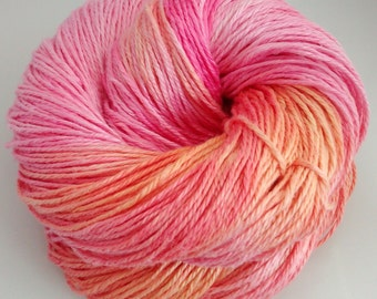 Hand-dyed linen yarn, DK, double knitting, Sunset