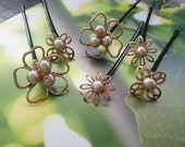 Pearl Hair Pins, Flower Bobby Pins, Gold Silver Hair Pins, Wedding Headpiece, Hairpin Set, Bridesmaid Gift, Bridal Hair Jewelry
