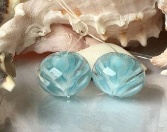 Handmade Lampwork Glass Beads SRA Aqua Bloom Pair Encasement Florals (2)
