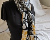 SALE - Vibrant Black Yellow White Stripe and Floral Scarf (4755)