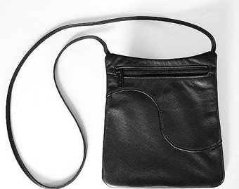 Black Leather Purse Handbag - Rectangular Cross Body Style