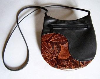 Black Leather Purse Handbag with Leaf Design (Maple, Oak, Ginkgo and Fern) Medium Round Festival Bag