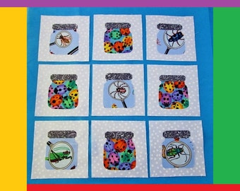 """Set of 9 Applique  6"""" x 6""""  Quilt Blocks  ...  Bug Jars   Insects and Ladybugs"""