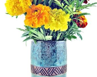 Pottery vase. flower vase, Wedding Gift - 9th Anniversary gift, utensil holder - IN STOCK