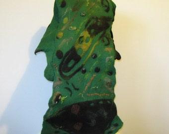 Felted Scarf Wrap Shawl Unique Winter Scarf Green