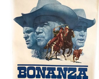 Bonanza 1966 Poster Promotional Mail Order Poster Bonanza TV Show . vintage 1960s television poster . Lorne Greene . Cartwrights . Western