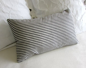 french ticking decorative Pillow 12x20 includes insert black stripes