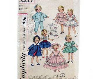 Vintage Sewing Pattern - DOLL CLOTHES - Shirley Temple Doll Wardrobe / Simplicity 3217 / 15 Inch Doll