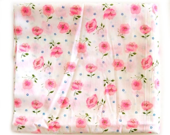 Vintage Floral Fabric - Hot Pink Roses on Bright White - Fine Lightweight Cotton Yardage