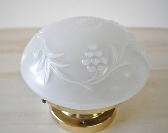 vintage victorian art deco glass light fixture / grape design / frosted glass / 1960s light fixture