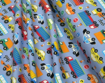 Jersey • Little Darling • cars and trucks • gray • Cotton Jersey kids Knit Fabric 002756