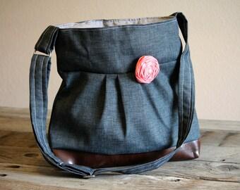Handbag, Crossbody Purse, Messenger Bag, Medium Faux Leather Bag, Charcoal Grey, Dark Grey Purse, Vegan Leather, Pleated Purse
