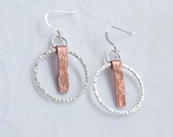 Silver Hoop and Copper Earrings, Drop Earrings, Dangle Earrings, Mixed Metal Earrings