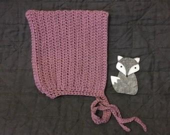 Texture stripe crochet pixie bonnet size 3-6m