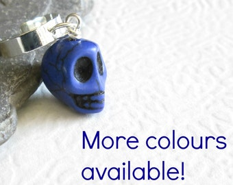 Cobalt Blue Skull Cartilage Cuff Earring: Biker Ear Cuff Jewelry