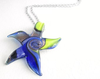 Glass Starfish Necklace, Cobalt Blue Ocean Jewelry, Sea Theme Pendant