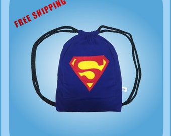 Superman Drawstring Backpack Kids Tote