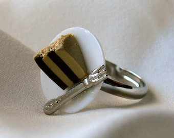 Miniature Food Jewelry Adjustable Ring - Chocolate Peanut Butter Cake with Fork