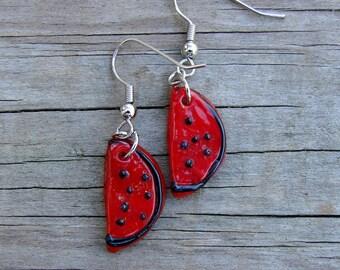Lampwork Glass Watermelon Slice Earrings - Watermelon Slices - Glass Watermelon Earrings