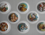 Alice In Wonderland Flair Buttons-Push Pins-Magnets-YOU CHOOSE STYLE
