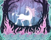 She is the Last 8x12 in unicorn art print