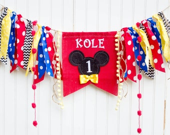 Mickey Mouse Birthday Banner, Clubhouse, Garland, Name banner Birthday AGE Highchair, childrens, I am one, high chair burlap first birthday