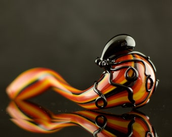 Octopus Glass Sherlock Pipe Hand Blown Thick Wall in Aztec Fire & Black, Ready to Ship #382