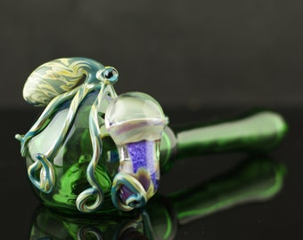SALE Octopus Large Glass Spoon Pipe Hand Blown Thick Wall in Emerald Green & Camouflage, Ready to Ship #225