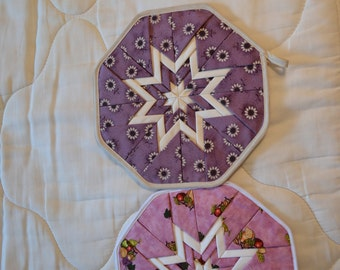 Amish Handmade Quilted Folded Star Potholders