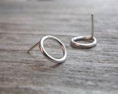 Circle Stud Earrings Sterling Silver