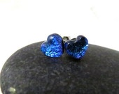 Ready to Ship - Fused Glass Earring Posts - Bright Blue Hearts - Glass Earring Studs - Cute Valentine Earrings