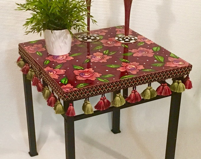 Whimsical Painted Furniture, Painted table // Painted Accent Table // Painted side table