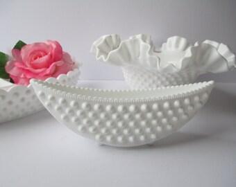 Vintage Fenton Milk Glass Hobnail Bowl Dish Planter Collection of Three - Weddings Bridal Decor