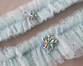 Snowflake Garter Set Aqua Beaded Tulle Wedding Garter Set Wedding Bridal