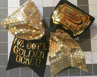 Golden Ticket Cheer Bow