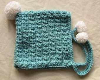 Thick Cozy Aqua Crocheted Pixie Hat, Ready to Ship