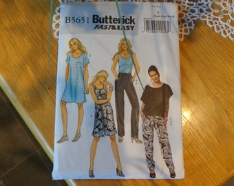 Butterick 5651 misses' top, dress and pants pattern