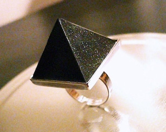 The Original SupHerOrgone Orgone Pyramid Ring or Necklace- Black Shimmer