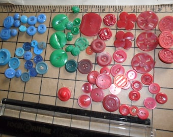 78 Vintage Buttons -Reds, Blues & Greens