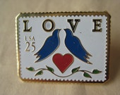 Love Stamp Brooch Lapel Pin Gold US Mail Red Blue White Vintage Heart Birds