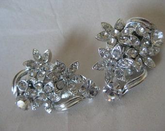 Flower Clear Silver Rhinestone Earrings Clip Vintage