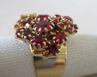 Chunky Red Cluster Gold Ring Vintage Rhinestone Adjustable