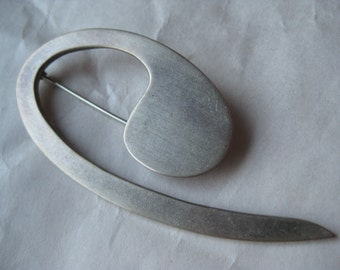 Modern Sterling Brooch Pin Vintage Silver 925 Mod Brushed Mexico