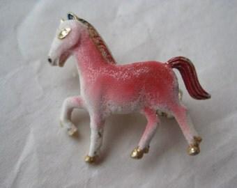 Horse Pony Pink Brooch Vintage Pin