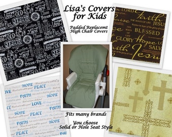 Faith Padded Replacement High Chair cover Reversible Pick 1 cotton fabric Universal Size Fits many brands Baby Trend Perego Chicco