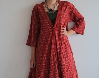 Artistic collection  Sympa...Simple front button jacket/dress 100%cotton with hand embroidery one size fit S-M