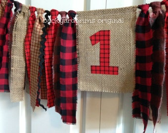Lumberjack theme Woodland Party High Chair Banner 1st Birthday cake smash photo prop Birthday Banner Burlap Banner Rag Tie Banner Buffalo