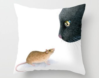 Throw Pillow Cushion Case black Cat 604 mouse from funny art painting L.Dumas